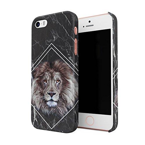 Dschungel Safari King Lion Mane Head Schwarz Marmor Block Dünne Rückschale aus Hartplastik für iPhone 5 & iPhone 5s & iPhone SE Handy Hülle Schutzhülle Slim Fit Case Cover (Leopard Handy Cover Für Iphone 5)