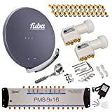 FUBA 16 TEILNEHMER DIGITAL SAT ANLAGE DAA850A + 0,1dB LNB FULL HDTV 4K + PMSE Multischalter 9/16 + 50 Vergoldete F-Stecker Gratis dazu