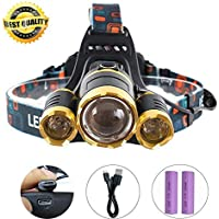 LED Head Torch, MAYOGA Super Bright Headlight Headlamp USB Rechargeable Waterproof Flashlight for Camping Cycling Running Fishing Hiking Hunting Climbing DIY Indoor & Outdoor – Batteries Included