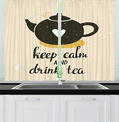 Keep Calm Kitchen Curtains, Drink Tea Lettering with Heart on Teapot, Window Drapes 2 Panel Set for Kitchen Cafe Decor, Dark Olive Green Pale Earth Yellow Eggshell 110x74 in -