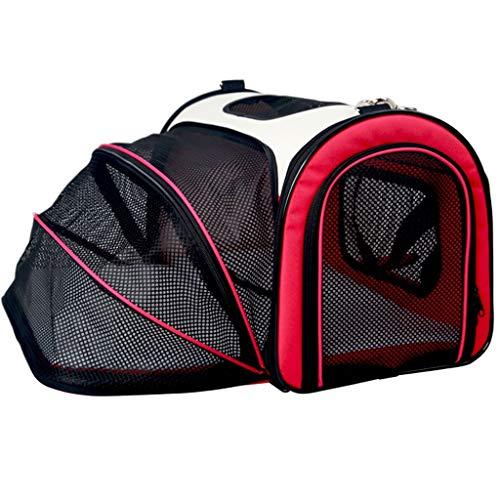Autotransportboxen Hundetransportbox Auto-Licht-Cat-Kasten, bewegliches Haustier-Zelt, Single Side Expansion Raum-Katzen-Tasche, Oxford Cloth wasserdichter Folding ( Color : Red , Size : 50*30*33cm )