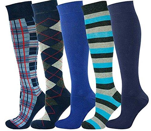 Mysocks Unisex Knee High Long Socks Check Design Extra Fine Combed Cotton