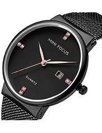 Reloj de Hombre de Metal Movimiento de Cuarzo de Metal Grande Diamante Tachonado Reloj Impermeable con