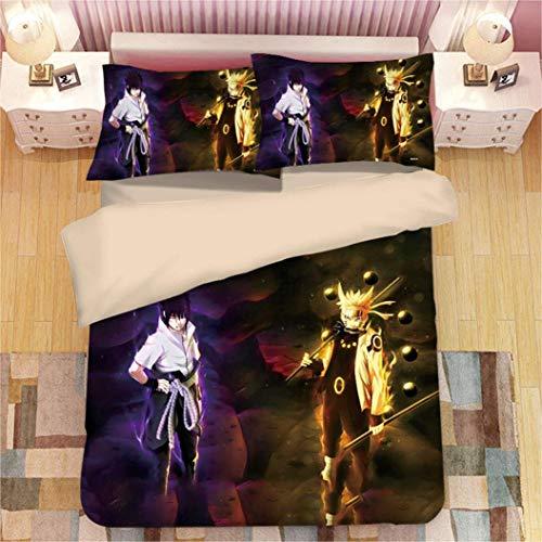 CXDM 3D Anime Kinder Erwachsene Bettdecke Naruto Bettwäsche Set Print Bettbezug Set lebensecht (1 Bettbezug + 2 Kissenbezüge),UKDouble