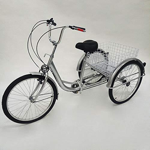 """YUWW7 Triciclo per Adulto Adulto Bici da Triciclo con 3 Ruote Senior Cargo Bicycle 24 \""""Shimano Cambio a 6 Marce con Luce"""