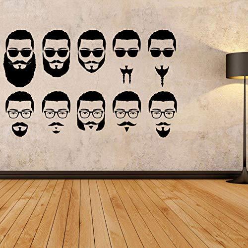 Pegatina De Pared Barba Corte De Pelo Tienda Vinilo Tatuajes De Pared Pegatina Estilo Salón Letrero Peluquería Logotipo Del Cabello Papel Pintado Para Paredes En Rollos