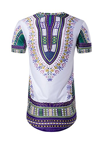 sankill Men's Dashiki Shirt Short Sleeve Traditional African Print Color Festival Tops Tribal T-Shirt