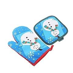 Idea Regalo - BESTOMZ Guanti da forno BESTOMZ Guanto resistenti al calore con presine per Natale (Pupazzo di neve)