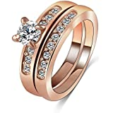 AnazoZ Jewelry Combination Ring Lover Gift Ring 18K Rose Gold Plate Female Ring With SWA Elements Austrian Crystals UK Size