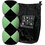 Conjunto de 3 bolas de malabares malabares Flash Pro Verde / Negro (4 caras) en bolsa de terciopelo completa