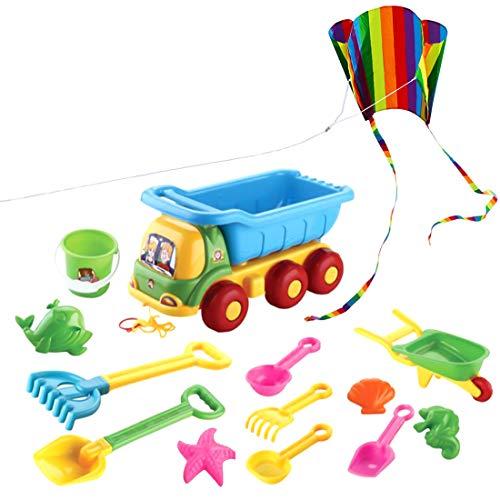 Ggoddess Sandspielzeug Kinder, 14 Stücke Strand Spielzeug Sandstrand Fahrzeug Spielzeug mit Kite und Netzbeutel für Sandstrand Outdoor ab 3 Jahren
