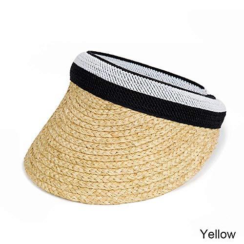 AJIAO Sonnenhut Sommer Frauen Männer Sonnenhut Bast Empty Top Sonnenschutz Hut Schirmmützen Fahrrad Sonnenhut Frauen Pferdeschwanz Sonnenschutzkappen Vollkorn