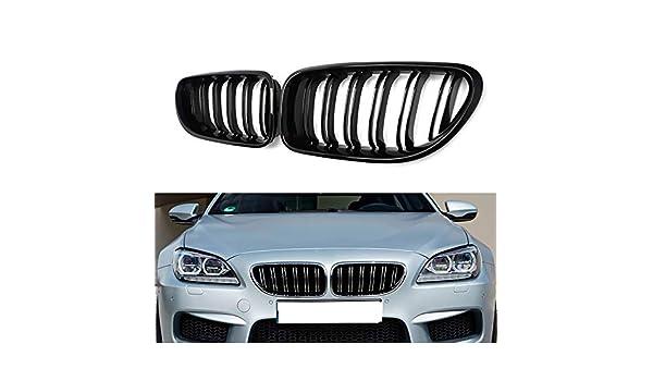 pour BMW S/érie 6 F06 F12 F13 M6 2012-2016 2 pi/èces Brosses lat/érales de Voiture Aspect Noir Brillant DYBANP Grilles Avant de Voiture Grilles de Course