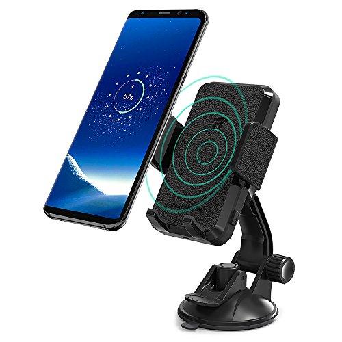 TaoTronics Handyhalterung Auto Qi Wireless Ladestation und KFZ fürs Auto Halter für iPhone, Samsung,und andere Smartphones von 5.8 bis 8.9 cm schwarz