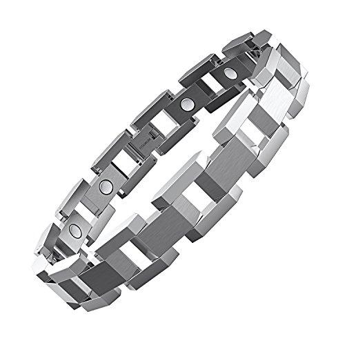 COOLMAN Titan Magnetisches Herren-Armband 3000 Gauss Magnetarmband Verstellbare Armbänder mit Link Entfernen Tool, 23 cm (Silber)