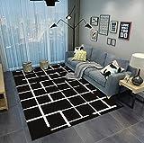 DAMENGXIANG Einfache Schwarz Weiß Abstrakt Teppich Für Wohnzimmer Couchtisch Schlafzimmer Rutschfeste Bodenmatte Wohnkultur Fuß Pad 70 × 180 cm