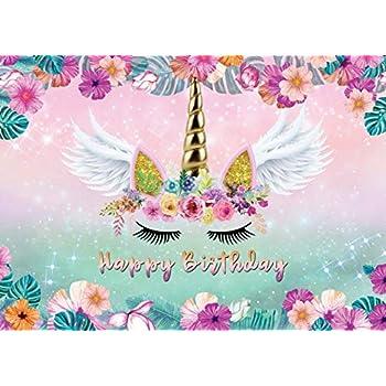 per foto e feste MEHOFOTO con fiori rosa scintillanti e colorati Sfondo per foto con unicorno magico arcobaleno per feste di compleanno