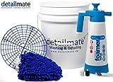 detailmate Set Auto Handwäsche: GritGuard Wascheimer 5 GAL (ca. 20 L) + Grit Guard Schmutz Einsatz + Kwazar Venus Super Foamer Cleaning Pro+ 2 l + Liquid Elements Chubby Mikrofaser Waschhandschuh
