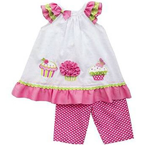 Rare Editions Baby Mädchen Tunika Kleid + Hose Weiß Rosa Cup Cake (80) (Editions Rare Kleider Baby)