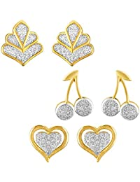 Mahi Combo Of 3 Gleaming Gold Plated Stud Earrings With CZ Stones For Women CO1104661G