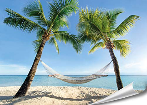 PMP 4life.® XXL Poster Strand Hängematte zwischen Palmen HD 140cm x 100cm Hochauflösende Wanddekoration Natur Bild für Wandgestaltung Wandbild | Fotoposter Karibik Sonne Sommer Palmen |
