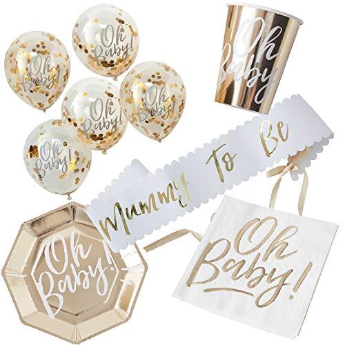 in due 38 Teile Dekorationsset Baby Party Schärpe, Teller, Becher, Servietten & Luftballons - Gold Babyshower Baby Deko Tischdeko Geburtstag (Babyshower Dekoration Für)