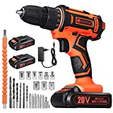 V VONTOX Cordless Drill / Cordless Screwdriver Set, Max 20V / 2Ah, 2x2000mAh Lithium Rechargeable Battery, Torque 42N.m, 60Min Charger, 3 / 8 Inch Drill Chuck, Variable Speed, Drilling Walls, Wood, Metal, Metal,