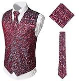 WHATLEES Herren Klassische Paisley Floral Jacquard Weste & Krawatte und Einstecktuch Weste Anzug Set BA0213-Red-XL