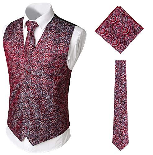 WHATLEES Herren Klassische Paisley Floral Jacquard Weste & Krawatte und Einstecktuch Weste Anzug Set BA0213-Red-XXXL