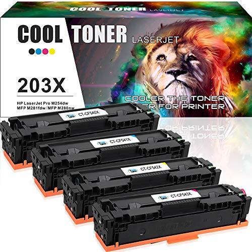 Cool toner 4 cartouches de toner compatible per cf540x cf541x cf542x cf543x hp 203x (203a cf540a cf541a cf542a cf543a) pour hp laserjet pro mfp m281fdw mfp m281fdn mfp m280nw mfp m254dw m254nw m254