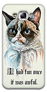 The Racoon Grip printed designer hard back mobile phone case cover for Samsung Galaxy E7. (serious ca)