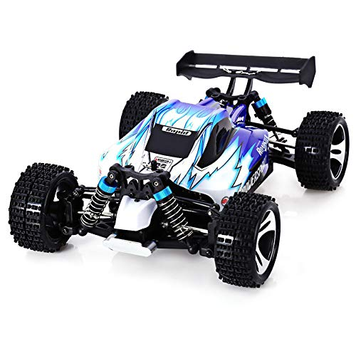 Qiulv 1/18 rc a distanza controllo fuori strada auto mostro sci di fondo camion radio controlled roccia scalatore veicolo 4wd ricaricabile passeggino da corsa per adulti e bambini regalo,blue