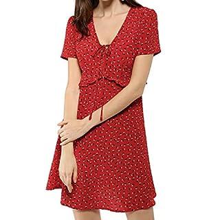 Allegra K Women's Summer Tie V Neck Short Sleeves Ruffle Floral Dresses Red L (UK 16)
