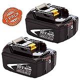 2X FUNMALL BL1860B 18V 5.5Ah Reemplazo para Makita Batería BL1860B BL1860 BL1850B BL1850 BL1830B BL1830 BL1840B BL1840 BL1815 BL1825 BL1835 BL1845 LXT-400 con indicador