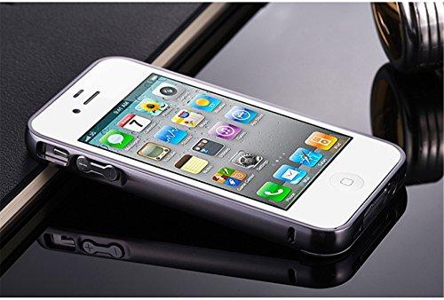 Coque Iphone 4S/4G,Miroir Coloris Silicone TPU Etui Housse Bumper pour Apple Iphone 4S/4G - Or noir