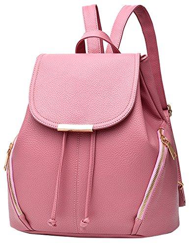 Menschwear Damen Einfargroß Einfache Stil PU Leder Casual Tasche Schulbeutel Reise Rucksack Rosa Rosa