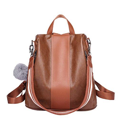 Frauen Schwarz Leder Rucksack Für Mädchen Drawstring Schultasche Braun Casual Daypack,Brown-M
