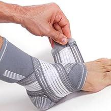 Tobillera ancha de sujeción - Tejido ligero, elástico y transpirable - Para aliviar los músculos - Tira de compresión ajustable - Marca NEOtech Care ( TM ) - Paquete de 1 unidad - Gris - Talla S