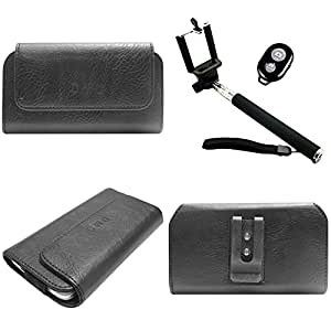 DMG Durable Cell Phone Pouch Carrying Case with Belt Clip Holster for Microsoft Lumia 532 (Black) + Handheld Selfie Monopod with Bluetooth Clicker