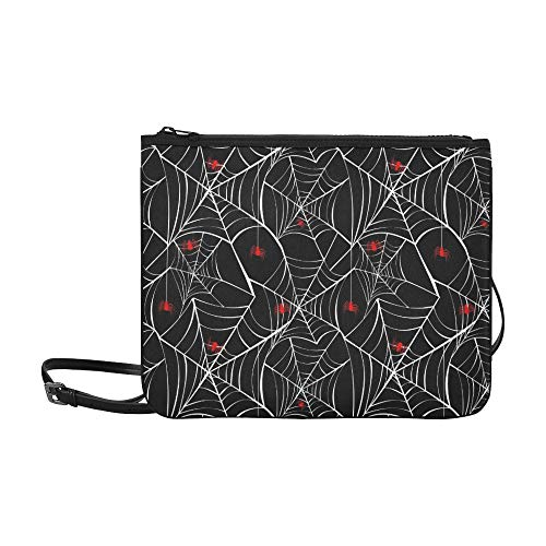 WYYWCY Happy Halloween Red Spider Webs Benutzerdefinierte hochwertige Nylon Slim Clutch Crossbody Bag (Halloween Spider Frau Kostüm)