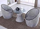 BAYLI - 3-tlg. 2 x Sessel + 1 x Tisch mit Glasplatte GARTENMÖBEL Set Poly Rattan Lounge BALKONSET GARTENSET SITZGRUPPE Sessel Farbe- Schwarz/Weiß