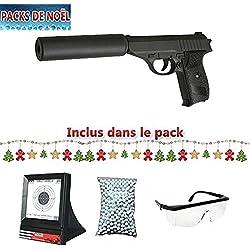 Galaxy Pack Cadeau De Noel Airsoft G3A Type Walther P230 w/Silencieux Full Metal à Ressort/Spring/Rechargement Manuel Lunette, Billes et cibles Filet Cadeaux (0.5 Joule)