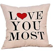 DIPOLA Funda de Almohada,Cojines Happy Valentine Sweet Love Square Creando un Ambiente Hogareño Rosa