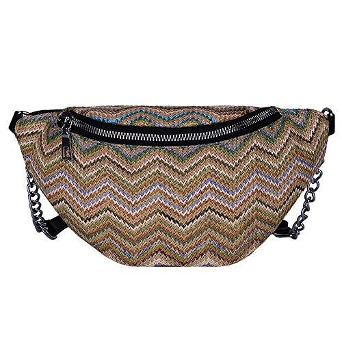 YEBIRAL Stroh Tasche Damen Hüfttasche Kleine Umhängetasche Bauchtasche Gürteltasche Messenger Handtasche mit Reißverschluss Woven Bag Sling Bag - Woven Damen Tasche