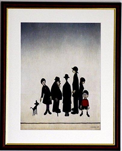 L S Lowry Spezialität Prints und Bilder-Die Familie-auf eine hohe Qualität Leinen Struktur Medium, Walnut Finish frame With Mount And Small Image, 14 x 11inch -