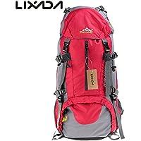 Lixada Mochila de Senderismo con Cubierta Lluvia Impermeable Paquete del Alpinismo Escalada Marcha Trekking Camping Deporte Al Aire Libre