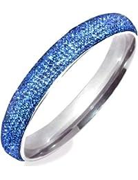 Luca Barra Bracelet Femme en Acier Blanc avec Zircon Bleu, Diam. Cm 6.8, 35 Grammes