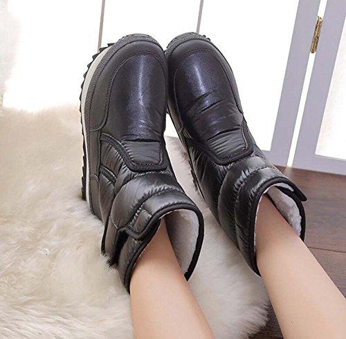 Bottes Femmes Noir Hiver Étanche En Peluche Chaud Mi-mollet Chaussures 3 Cm Épais Botte Boot Bottes Non-slip 2017 Hiver Nouvelle Eu Taille 34-41 Noir