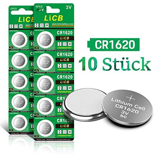 LiCB 10 Stück CR1620 3V Lithium Knopfzellen CR 1620 Batterien (1620 3v Cr Batterie)
