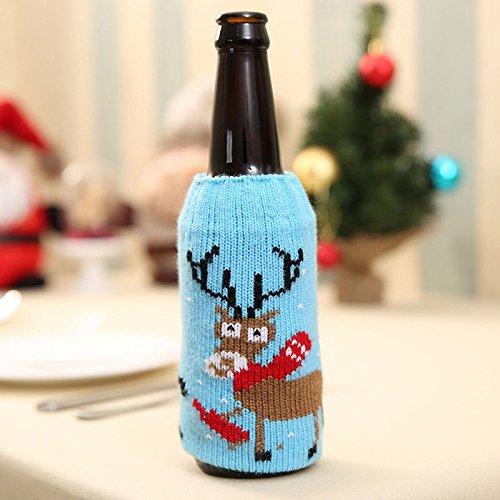 Auntwhale Weihnachten Gestrickte Weinflasche Set, Schneeflocke Baum Elk Lebkuchenmann Bierflasche Set Weihnachtsdekoration, Kreatives Thema Bierflasche ()